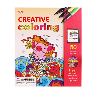 图个乐TUGELE儿童益智创意涂色水彩绘画套装 小猪系列图案丰富细致 包装精美大气 工具环保齐全