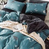 全棉保暖珊瑚绒纯棉四件套秋冬季法兰绒水晶绒床上三件套被套床单 乳白色 森林熊 2.0m(6.6英尺)床