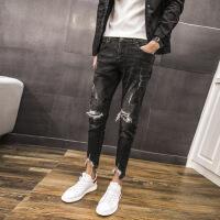 秋冬款牛仔裤小脚破洞裤黑色韩版个性裤脚修身牛仔裤长裤 黑色