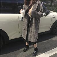 复古格子百搭中长款过膝毛呢外套女冬装新款韩版宽松显瘦呢子大衣