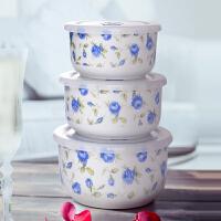 陶瓷带盖保鲜碗三件套饭盒便当盒保鲜盒微波炉加热碗