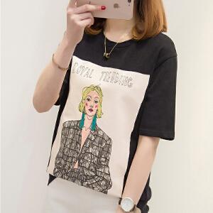 印花短袖t恤女2018夏季新款韩版宽松显瘦学生外穿体恤上衣服