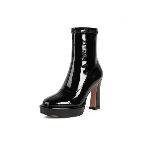 WARORWAR法国新品YG14-18-54冬季韩版反绒粗跟中高跟女士靴子切尔西靴短靴