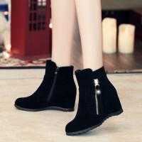 韩版秋冬新款女靴子铆钉侧拉链内增高学生靴高跟短靴女踝靴马丁靴