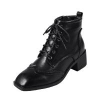 马丁靴女英伦风2018秋冬新款布洛克短靴方头真皮粗跟侧拉链女靴子