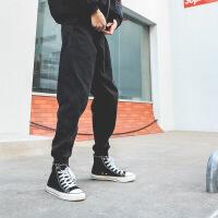 №【2019新款】冬天年轻人穿的哈伦裤子加绒修身小脚裤男士潮牌宽松束脚裤黑色牛仔裤