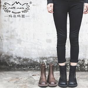 玛菲玛图女鞋女靴春秋单靴子新款短靴女粗跟真皮侧拉链马丁靴5751-13