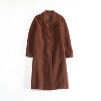 女秋冬长款毛呢外套 西装领修身气质加厚呢子大衣 49x