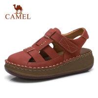 camel 骆驼真皮厚底松糕凉鞋女 夏季新款魔术贴包头坡跟 中跟休闲鞋