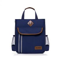 小学生手提包补习袋中学生手提包双层书袋男女儿童补课包单肩书包斜挎包 2层反光菱形宝蓝色