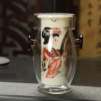萌味 泡茶器  玻璃茶具红茶杯耐热泡茶器耳杯过滤茶壶青花陶瓷家用茶具