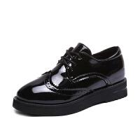 学生英伦布洛克厚底系带圆头单鞋女2018新款韩版学院风雕花小皮鞋真皮 黑色