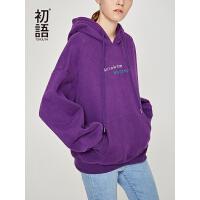初语紫色加绒卫衣女2018秋冬新款潮流抽象印花撞色刺绣连帽上衣