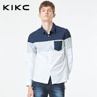 kikc男装全棉长袖衬衫秋季新款纯棉青年韩版潮流修身拼色口袋衬衣