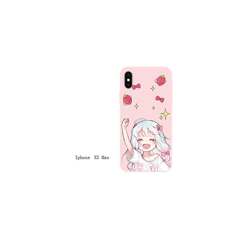 xs max苹果6s手机壳iPhone7女款6plus硅胶xr可爱5s网红8x iPhonexs max草莓举手萝莉