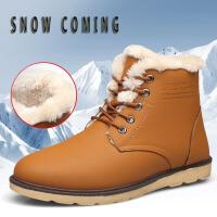 雪地靴 男式学生高帮板鞋圆头加绒保暖棉鞋子2019暖冬出行男士防滑工装靴子