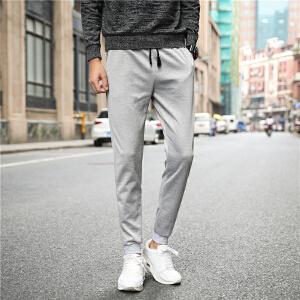 松紧腰男士休闲裤 青年系带束脚运动裤宽松小脚裤子男潮