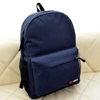 糖果色大容量背包男女生电脑书包纯色帆布旅游双肩包中学生大学生 深蓝色