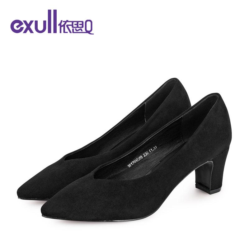 依思q秋冬新款个性奶奶鞋粗跟高跟鞋浅口套脚单鞋女