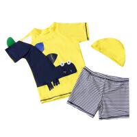 2018年汐琪新款儿童分体泳衣 卡通恐龙男童泳衣 黄色