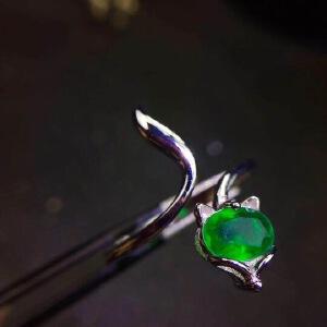 天然哥伦比亚祖母绿狐狸戒指,旺姻缘防小三,个性款