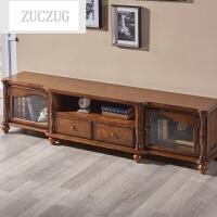 ZUCZUG实木电视柜1.8米红橡木2米电视柜组合柜美式客厅简约现代家具 栗色 6361地柜 组装