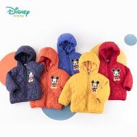 【2件3折到手价:74.4】迪士尼Disney童装 男宝宝夹棉连帽外套冬季新品米奇印花棉服儿童中长款衣服194S112