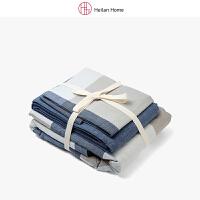 海澜优选1.2米床蓝灰格纹水洗棉三件套床单款