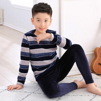 男童儿童保暖内衣套装加绒加厚男孩保暖衣中大童青少年91012岁 +藏青裤子  全店商品限时3件7折,一件9折,2件8折。全店商品限时3件7折,一件9折,2件8