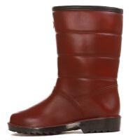 加绒雨鞋女冬季中筒加绒加厚保暖棉雨靴女防滑橡胶仿皮雨鞋女士防水防滑套鞋lkf