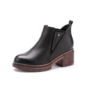 如熙冬季新款松紧带圆头切尔西靴复古时尚短靴中跟粗跟女靴