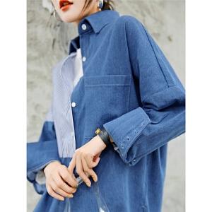 七格格牛仔拼接衬衫女新款长袖秋季韩版宽松中长款条纹衬衣潮