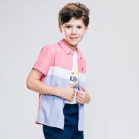 【3件3折:88.8元】暇步士童装夏季新款男童短袖衬衫时尚小清新拼色短袖衬衫儿童短袖衬衫