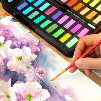 水彩颜料固体36色套装初学者手绘工具小学生成人幼儿园儿童画画水粉颜料
