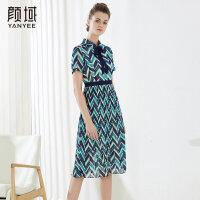 颜域短袖polo领雪纺连衣裙女中长款几何印花系带2018夏季新款裙子