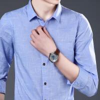 春季男士长袖衬衫2018新款青年修身衬衣休闲商务寸衫韩版男装上衣