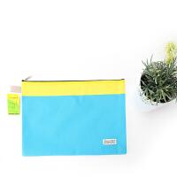 拉链文件袋 会议袋 文具彩色收纳袋 A4多功能商务袋双层袋 蓝色黄边