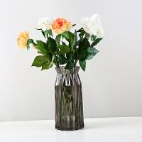 0506133515204 创意家居摆件水培富贵竹装饰品玫瑰插花器透明水晶玻璃花瓶大号