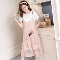 孕妇夏装连衣裙夏蕾丝吊带长裙时尚套装中长款韩版孕妇装潮妈上衣SN3582 粉红色