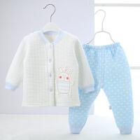 婴儿夹棉内衣秋冬季3幼儿9儿童男女宝宝保暖衣套装 立领保暖衣套装 大熊蓝色
