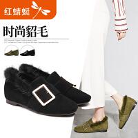 【领�幌碌チ⒓�120】红蜻蜓女鞋新品舒适圆头中低跟 时尚貂毛百搭休闲女单鞋
