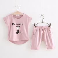 童装 男女童 可爱米奇字母印花短袖T恤+中裤套装 儿童两件套K61