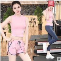 简约性感背心短裤速干两件套瑜伽服套装女士健身房运动晨跑步服