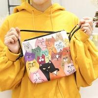 单肩斜挎包2017潮新款女pu原创时尚韩版猫咪系列印花学生可爱小包