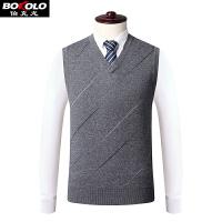 纯羊毛衫背心男v领纯色 秋冬季新款无袖商务男装毛衣针织套头衫SW2142