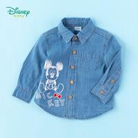 【2件3折到手价:79.5】迪士尼Disney童装男童牛仔衬衫米奇印花纯棉上衣2020年春季新品儿童舒适衣服潮童外搭