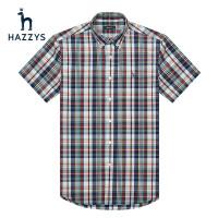 Hazzys哈吉斯春季新款男士短袖衬衫经典英伦格子休闲时尚男士衬衫