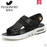 富贵鸟男鞋 夏季男士沙滩鞋真皮户外休闲透气软底时尚凉鞋男潮