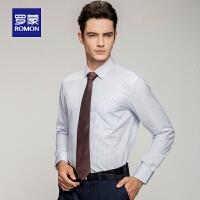 「狂欢!特价商品到手价:79」Romon/罗蒙100%纯棉长袖衬衫男士青年条纹商务2018春季款休闲上衣