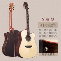 ?手工琴36寸41寸单板吉他云杉玫瑰木抛光旅行民谣吉它初学者